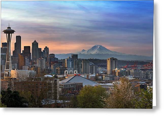 Breaking Dawn In Seattle Greeting Card