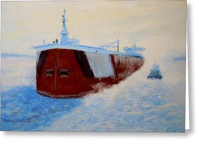 Breaking Ice For The Edgar B. Speer In Sturgeon Bay Greeting Card by Bethany Kirwen