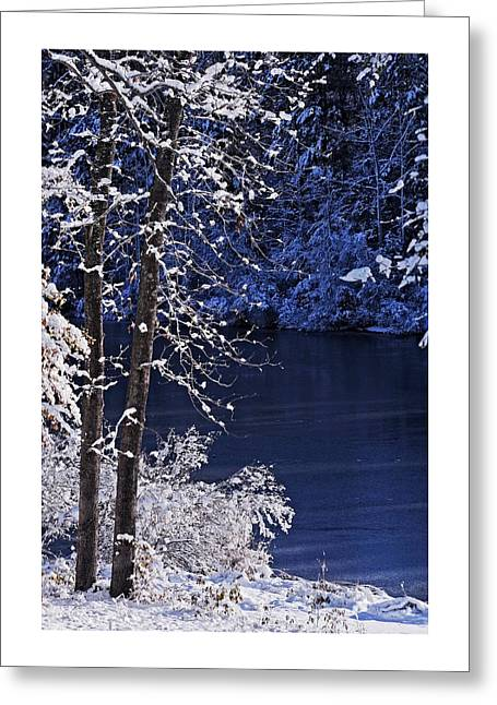 Breaking Light On Fresh Snow And Lake Greeting Card by Matt Plyler