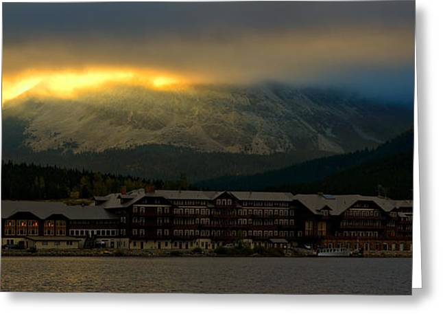 Breaking Storm Clouds Over Many Glacier Greeting Card