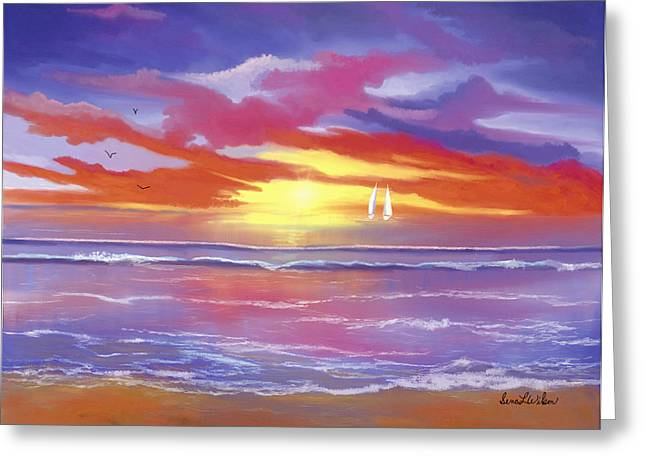 Greeting Card featuring the painting Breaking Sun by Sena Wilson