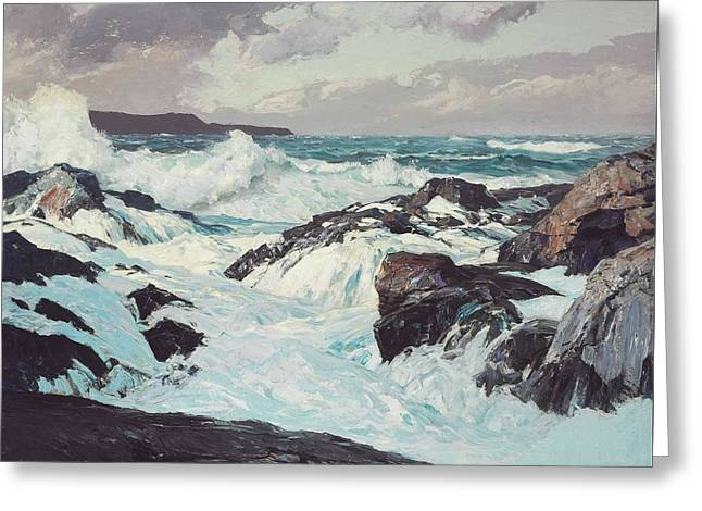 Breaking Surf Greeting Card by Frederick Judd