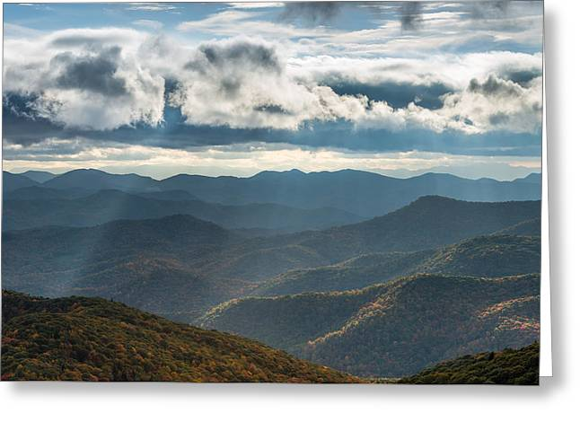 Blue Ridge Parkway Breaking Through  Greeting Card