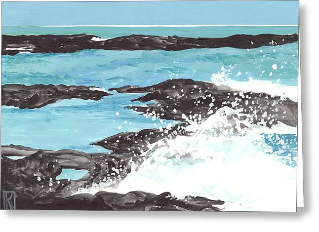 Breaking Wave On Lava Rock Greeting Card