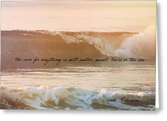 Greeting Card featuring the photograph Breaking Wave Quote by JAMART Photography