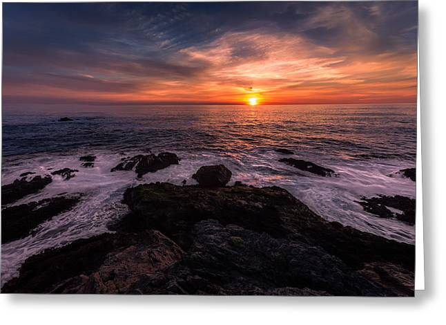 Breaking Waves At Sunset Greeting Card