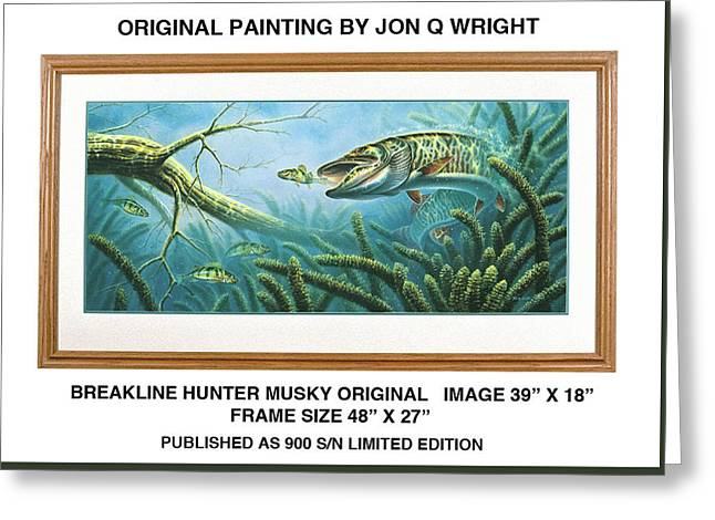 Breakline Hunter Musky Greeting Card by Jon Q Wright