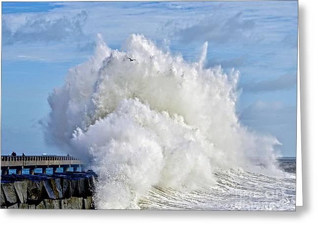 Breakwater Explosion Greeting Card by Michael Cinnamond