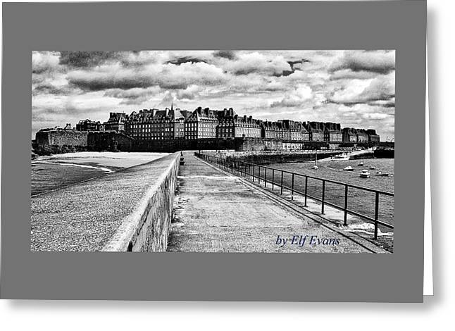 Greeting Card featuring the photograph Breakwater Walkway To Intra Muros by Elf Evans