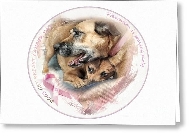 Breast Cancer Awareness In Dogs Greeting Card by Adelita Rog