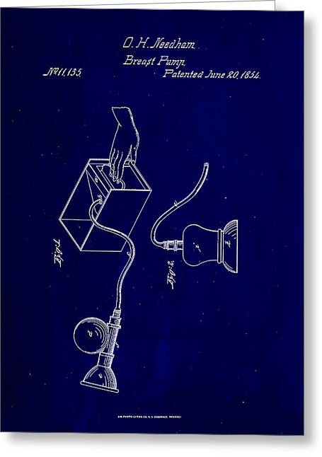 Breast Pump Patent Drawing 1a Greeting Card