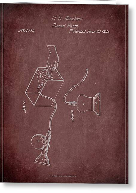 Breast Pump Patent Drawing 1c Greeting Card