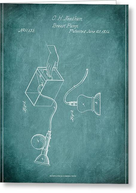 Breast Pump Patent Drawing 1d Greeting Card