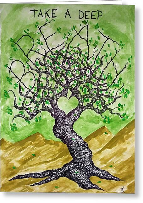 Breathe Love Tree Greeting Card
