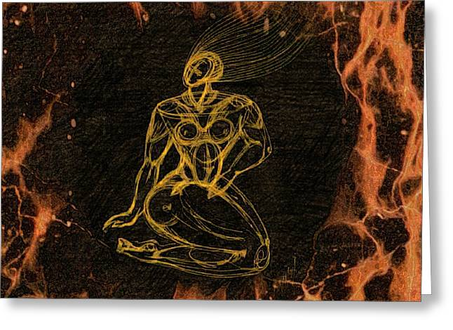 Breathing In Fire Greeting Card by Inga Vereshchagina
