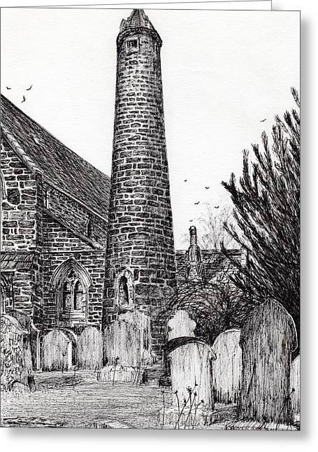 Brechin Round Tower Greeting Card by Vincent Alexander Booth