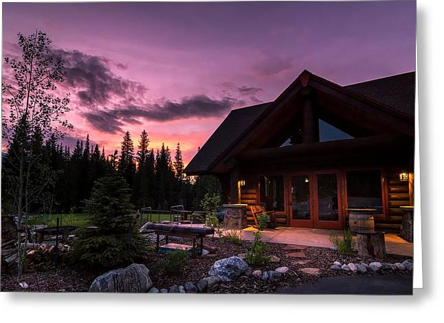 Breck Nordic Lodge Sunset Greeting Card by Michael J Bauer