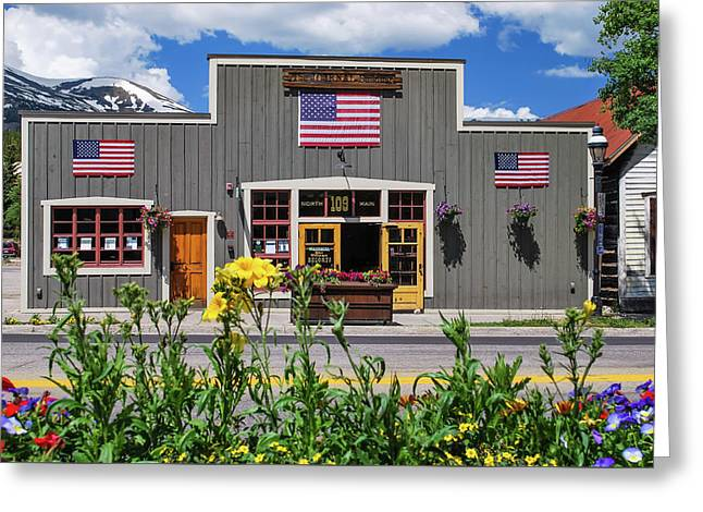 Breckenridge Colorado Usa Downtown And Rocky Mountains Greeting Card by Gregory Ballos