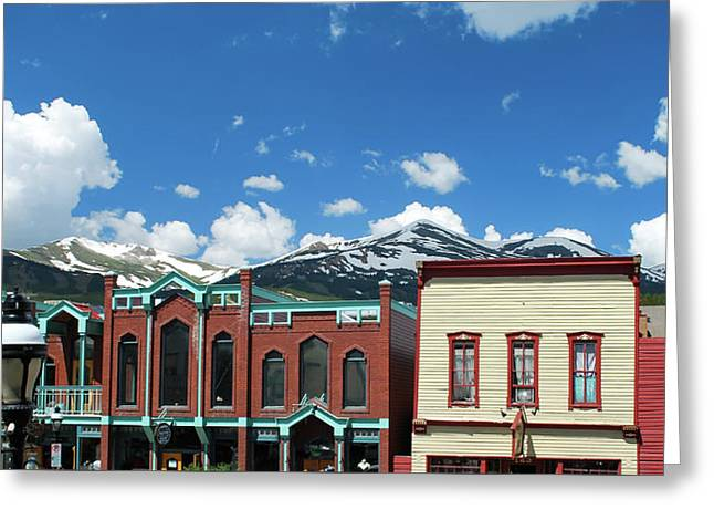 Breckenridge Colorado Downtown Mountain Skyline Panorama  Greeting Card by Gregory Ballos
