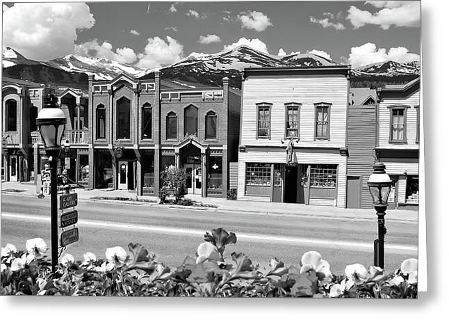Breckenridge Colorado Mountains Black And White - Ski Town Greeting Card by Gregory Ballos