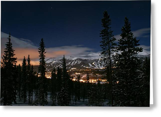 Breckenridge Moon Lit Night Greeting Card by Michael J Bauer