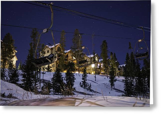 Breckenridge Snowflake Lift Greeting Card by Michael J Bauer