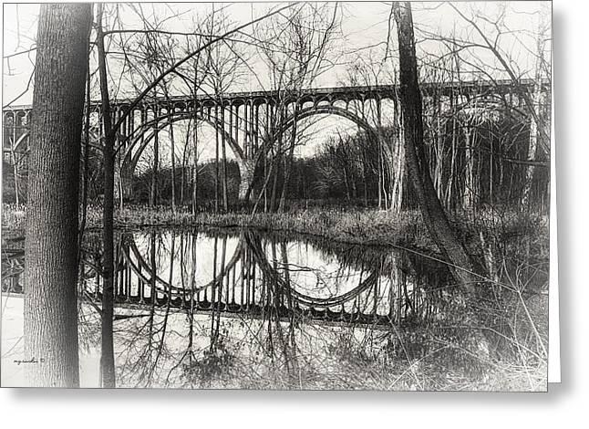 Brecksville _ Northfield Bridge B W Greeting Card by Michael Rankin