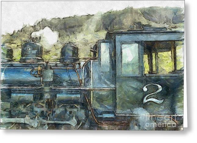 Brecon Mountain Railway Train No.2 Greeting Card by Claire Bull
