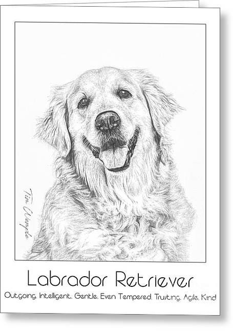 Breed Poster Labrador Retriever Greeting Card by Tim Wemple