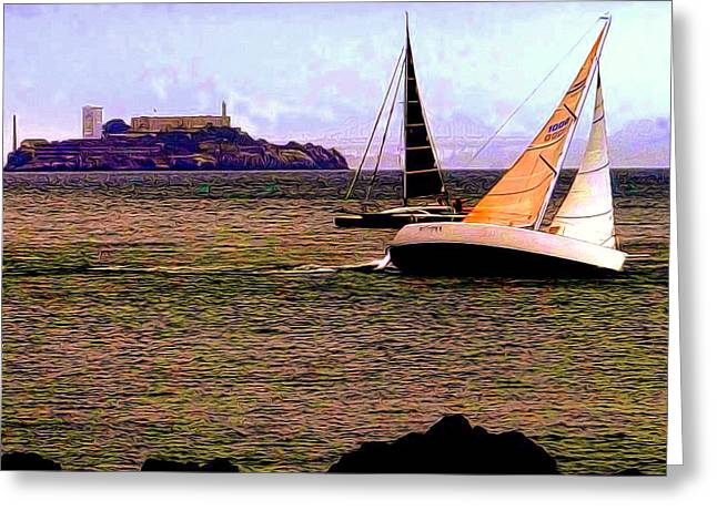 Breezin' On The Bay Greeting Card by Douglas Coiner