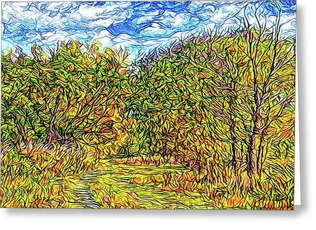 Breezy Autumn Pathway Greeting Card by Joel Bruce Wallach