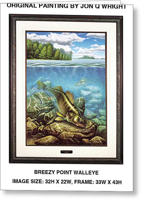 Breezy Point Walleye Original Greeting Card by Jon Q Wright