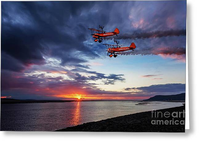 Breitling Wingwalkers Sunset Greeting Card by Adrian Evans