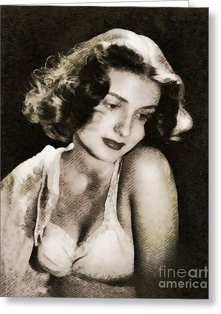 Brenda Marshall, Vintage Actress By John Springfield Greeting Card by John Springfield