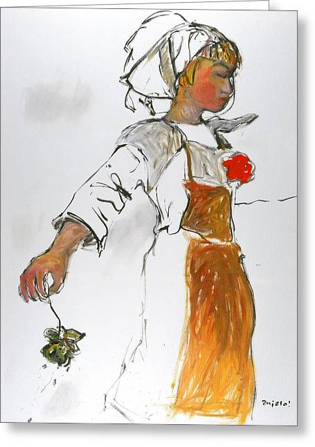 Breton Girl Greeting Card
