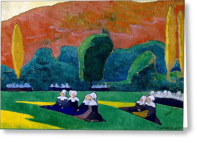 Breton Women Attending A Pardon Greeting Card by Emile Bernard