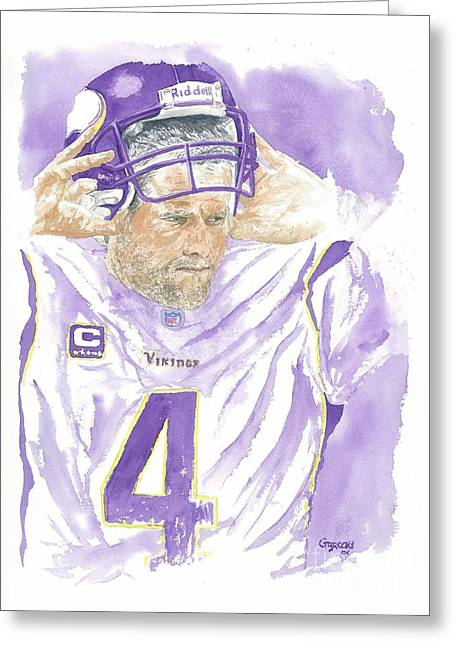 Brett Favre - The Old Warrior Greeting Card by George  Brooks
