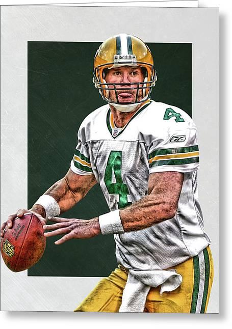 Brett Favre Green Bay Packers Art Greeting Card by Joe Hamilton