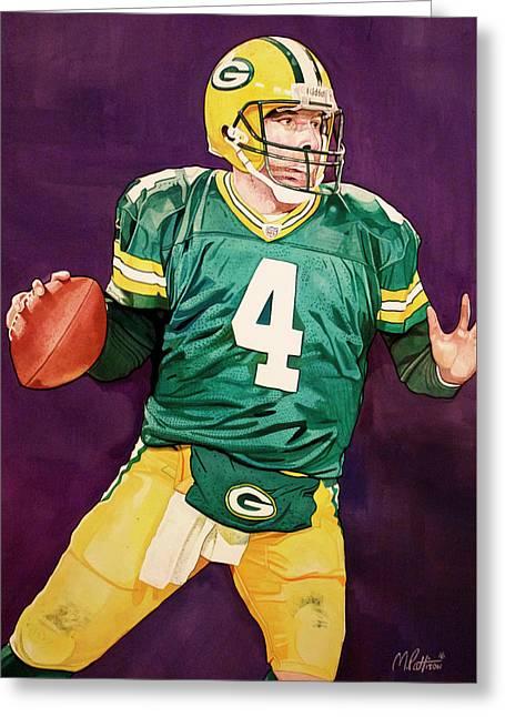 Brett Favre Green Bay Packers In Purple Greeting Card