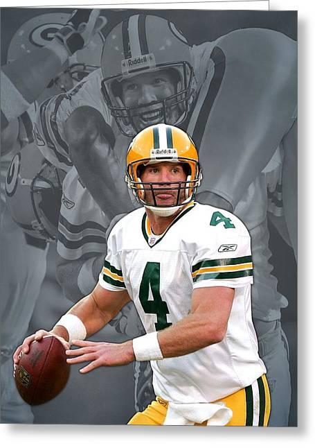 Brett Favre Green Bay Packers Greeting Card by Joe Hamilton