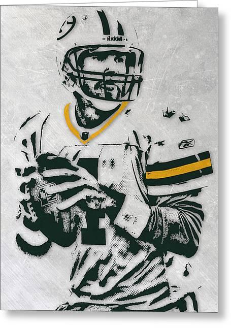 Brett Favre Green Bay Packers Pixel Art Greeting Card by Joe Hamilton