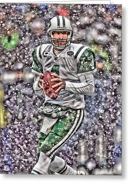 Brett Favre New York Jets Greeting Card by Joe Hamilton