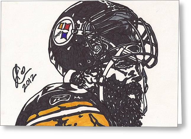 Greeting Card featuring the drawing Brett Keisel by Jeremiah Colley