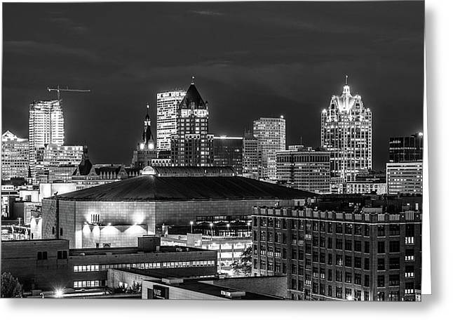 Greeting Card featuring the photograph Brew City At Night by Randy Scherkenbach