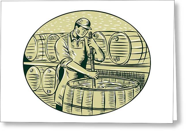 Brewer Brewing Beer Etching Greeting Card
