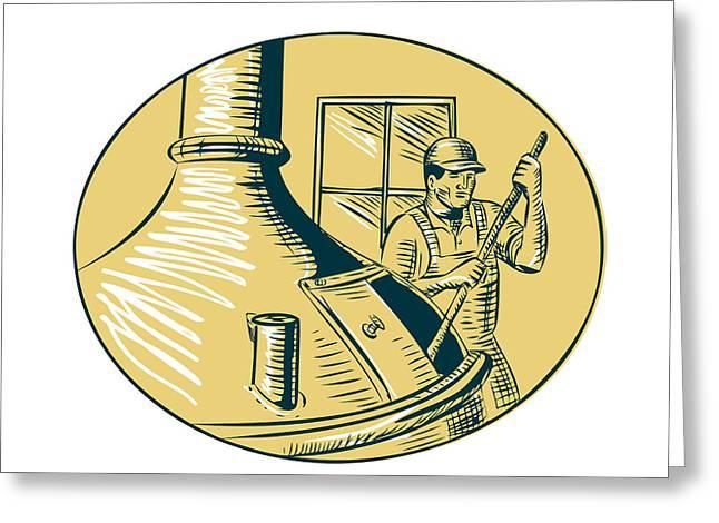 Brewermaster Brewer Brewing Beer Etching Greeting Card by Aloysius Patrimonio