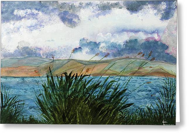 Brewing Storm Over Lake Watercolor Painting Greeting Card