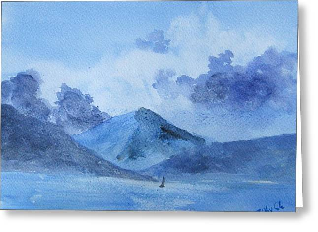 Greeting Card featuring the painting Brewing Storm by Trilby Cole