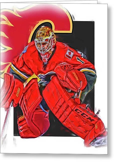 Brian Elliott Calgary Flames Oil Art Greeting Card by Joe Hamilton