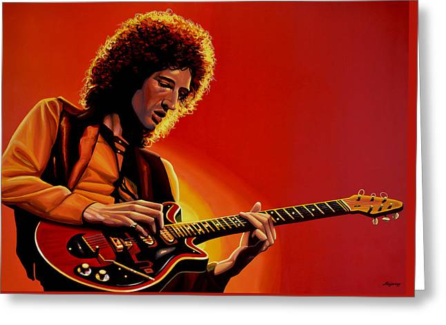 Brian May Of Queen Painting Greeting Card